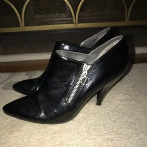 Awesome black patent leather with zipper detail!